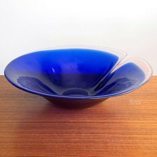 """Mats Jonasson Maleras Sweden Blue Magic Large 11 1/2"""" Modern Art Glass Bowl"""