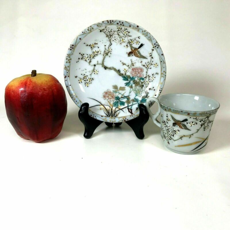 Fine Antique Japanese Signed Hand Painted Bird & Blossom Teacup & Saucer