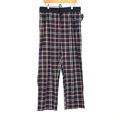 Nautica Sleepwear Mens Fleece Pajama Lounge Pant Sz Lg Plaid Blue Red Drawstring