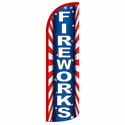 Windless Swooper Feather Flag Tall Banner Sign 3 Wide Fireworks Red Blue