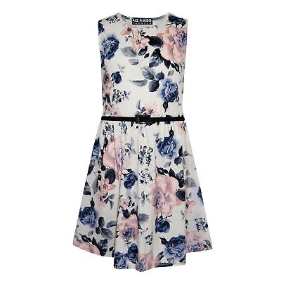 Girls Skater Dress Kids Ivory & Blue Floral Print Summer Party Dresses 7-13 - Girls Ivory Dress