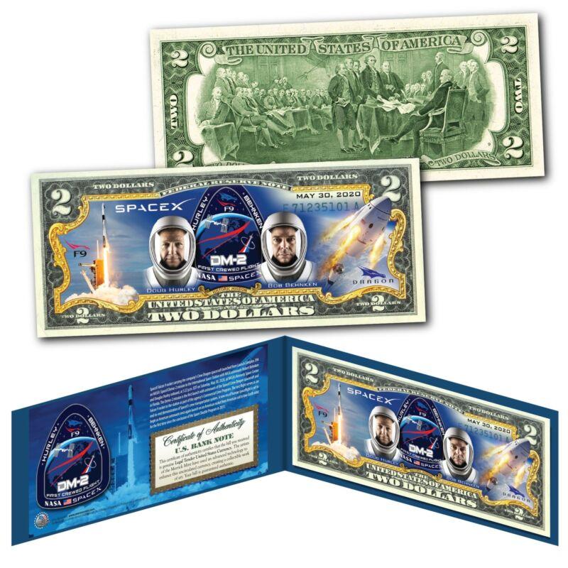 SPACEX F9 & Dragon Rocket Spacecraft NASA astronauts 5/30/2020 Genuine $2 Bill