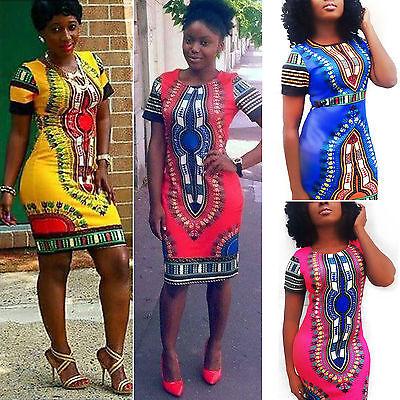 Damen Afrikanisch Dashiki Bodycon Kleider Sommerkleid Minikleid Partykleid 38 42