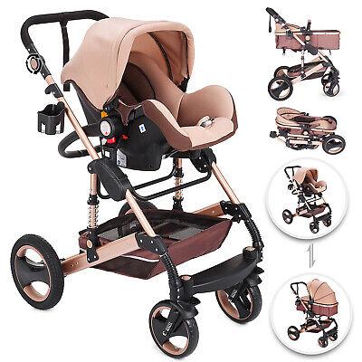 Luxus Kinderwagen Set 3in1 Buggy Babywanne Autositz Babyschale