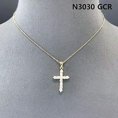Cubic Zirconia Gold Finished Rhinestones Decorated Cross Shape Pendant Necklace