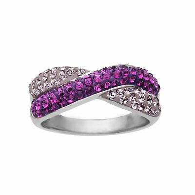 Crystaluxe Criss-Cross Band Ring with Violet Swarovski Crystals in Sterling Criss Cross Band
