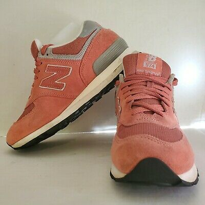 New Balance 574 Classic Womens Shoes Pink Suede Athletic Running Walking Size 8