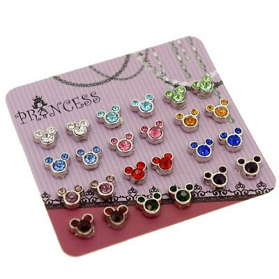 Mickey Mouse Bear Color Crystal Magnetic Stud Earrings for Kids Teen Girls Women ()