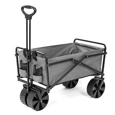 Seina Collapsible Steel Frame Folding Utility Beach Wagon Outdoor Cart, Gray