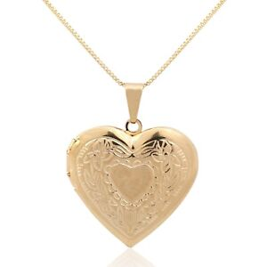 New 9CT Gold Filled Large Double Heart Locket Pendant and Chain  B22