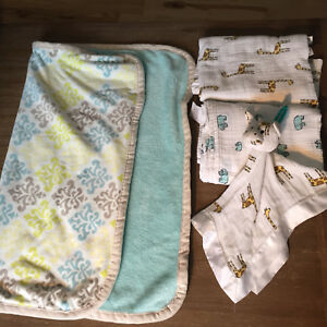 Muslin blanket bundle with security stuffy