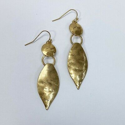 Matte Gold Colored Metal Hammered Pointed Oval Shape Drop Dangle Hook Earrings Hammered Gold Oval Earrings