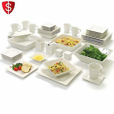 Dinnerware Set Kitchen Dishes Bowls Plates Dinner Square Porcelein 45 pcs White