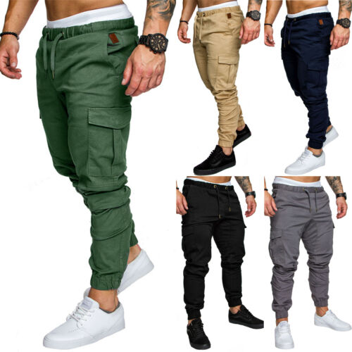 Herren Cargo Jogger Chino Stretch Hose Jogging Jeans Sweatpants Sweathose Laufen