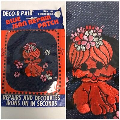 Vtg NOS Deadstock 70s 1973 Denim Novelty Print Iron On Patch Jeans Embroidered