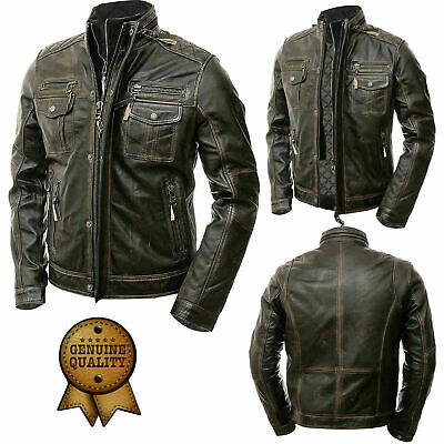 Mens Vintage Cafe Racer Distressed Motorcycle Retro Biker Genuine Leather Jacket