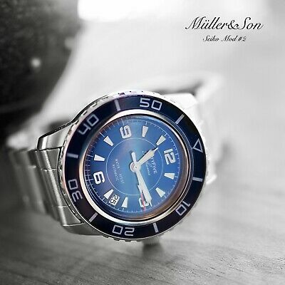 "Müller&Son Watch ""Blue Mod 2"" made from Seiko SNZH53 Fifty Five Fathoms+Bracelet"