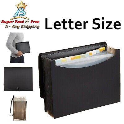 Expanding Organizer File Folder Paper Storage Letter Size Black 13 Pockets Tabs