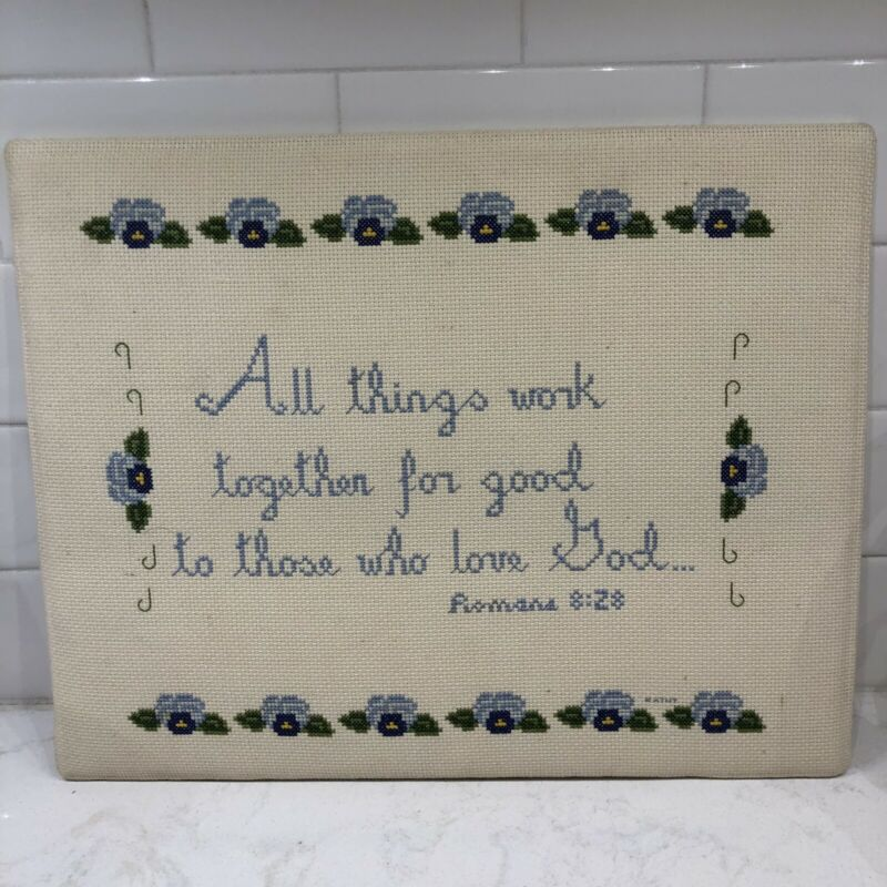 Finished Cross Stitch Needlepoint Piece All Things Work Romans 8:28 14X11  HG70