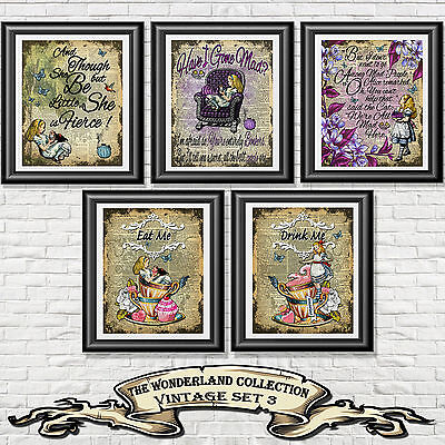 ART PRINT ON ANTIQUE BOOK PAGE Vintage Set 5 Alice in Wonderland Dictionary