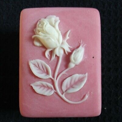 Vintage Pink Incolay Stone Rose Carved Cameo Small Trinket Box