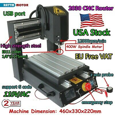 Us3axis 2030 110v Desktop Cnc Router Engrave Cutting Mill Machine400w Spindle