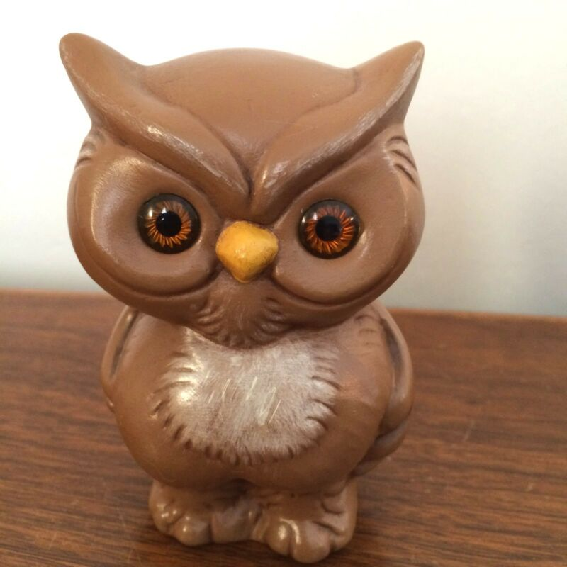 Vintage Hand Painted Brown Owl Figurine