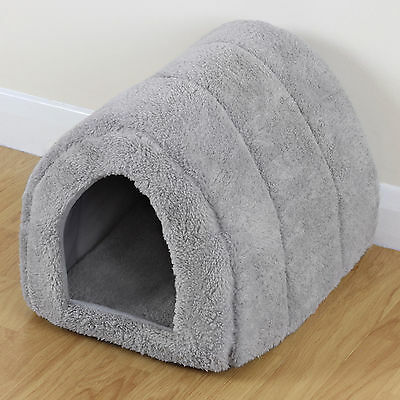Soft Grey Pet Cat/Kitten Dog/Puppy Fleece Igloo Bed Warm House/Tunnel/Snug/Pod