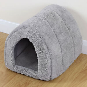 Soft Grey Pet Cat/Kitten Dog/Puppy Fleece Igloo Bed Warm House/Tunnel/Snug/Pod
