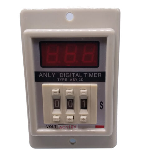 US Stock ASY-3D 1-999s AC110V Power On Delay Timer Digital Time Relay 8P W/ Base