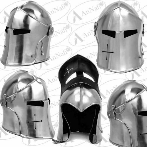 Medieval Barbuda Armor Helmet / Greek Roman Templar Knight Visor Barbuda Helmet