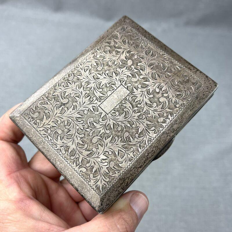 "950 Silver Cigarette Case Jewelry Trinket Dresser Box Wood Lined Mono ""MS"""