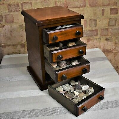 Antique Rock Collection Bank of Drawers Collectors Specimen Cabinet Table Top
