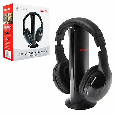 WIRELESS HEADPHONES CORDLESS RF 5 IN 1 HEADSET WITH MIC FOR PC TV CD MP3 MP4 BLK