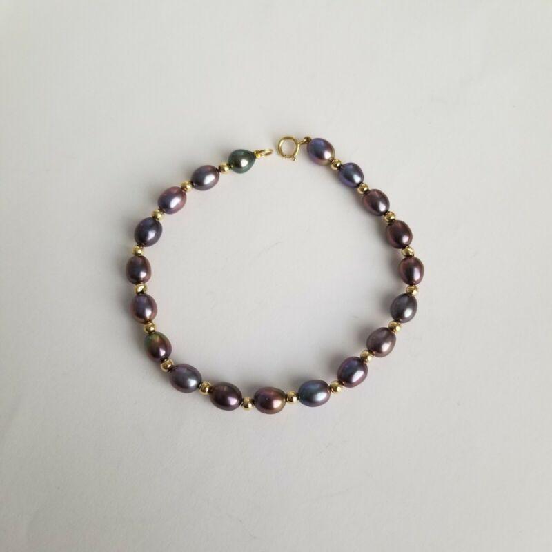 14k Yellow Gold Spacer Bead Bracelet Tahitian Pearls