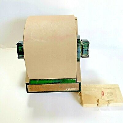 Vintage Tan Metal Rolodex Model 2254d Made In U.s.a. Cards Included But No Key