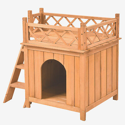 Small Dog Puppy Pet House Wooden Room W/Roof Balcony Bed Shelter Indoor Outdoor