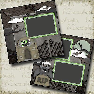 CEMETERY - Halloween - 2 Premade Scrapbook Pages - EZ Layout - Halloween Scrapbook Layout Pages