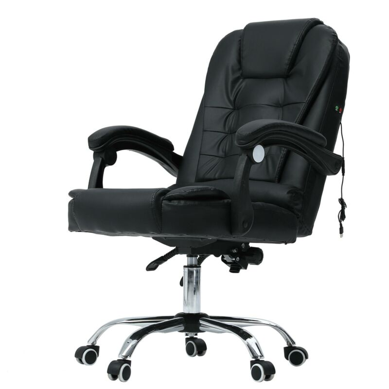 Computer Games - Luxury Leather Office Massage Chair Computer Gaming Swivel Recliner Executive