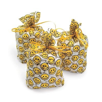 24 Festive SmileY EMOJI HAPPY Face CELLOPHANE birthday Party favor loot bags - Happy Face Birthday