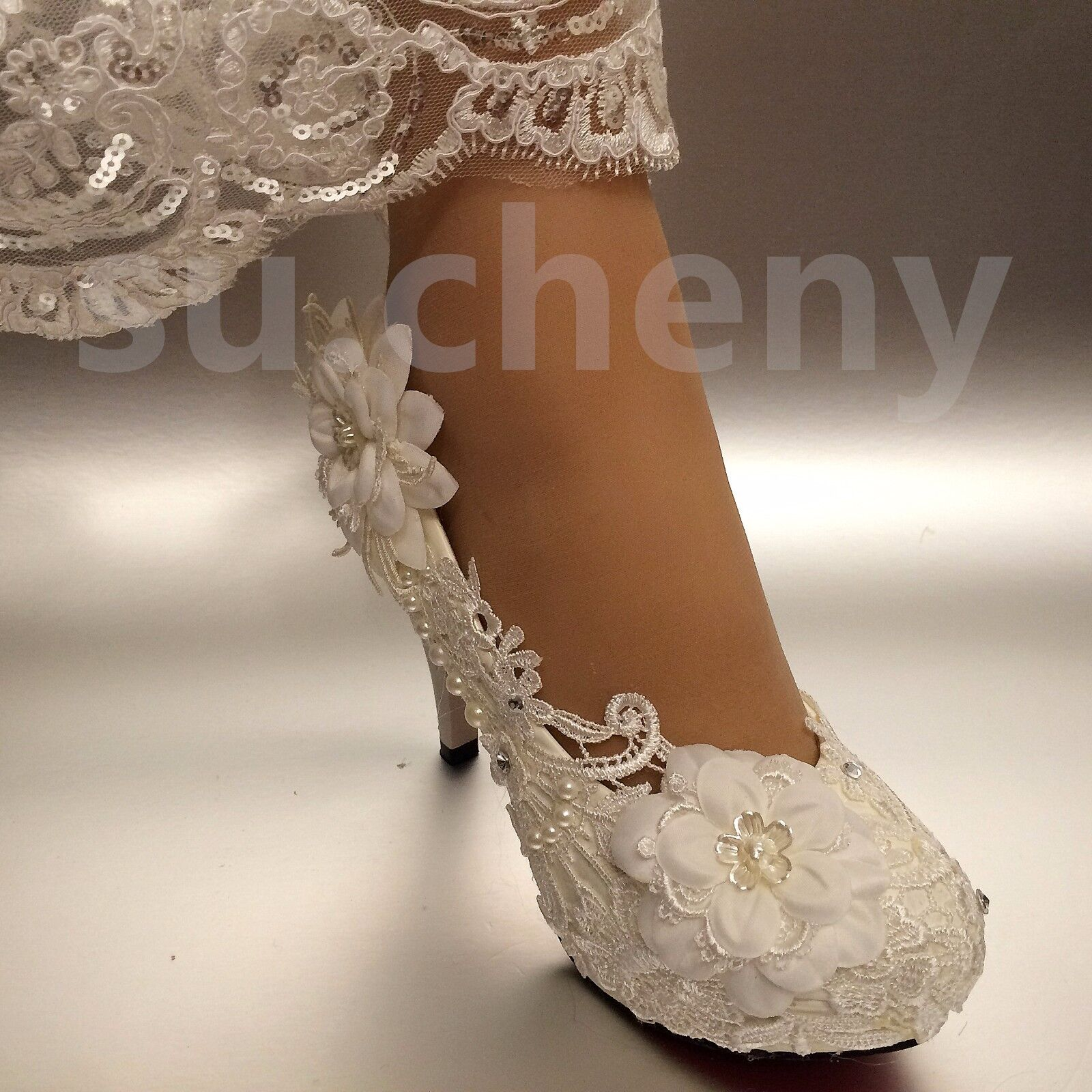 """a001267eb464 su.cheny 2 3 4"""" White ivory heels lace ribbon cr.. in Clothing ..."""