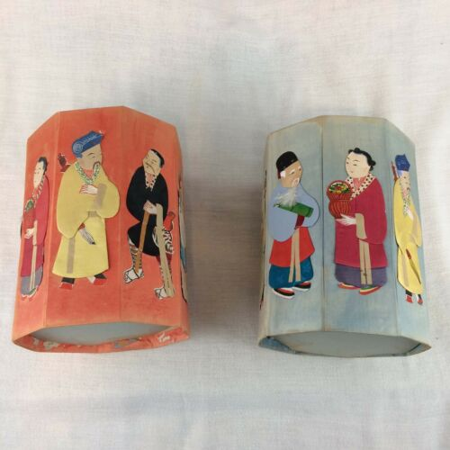 2 Vintage Asian Chinese Fabric Folding Collapsible Gift Box, Octagonal, People