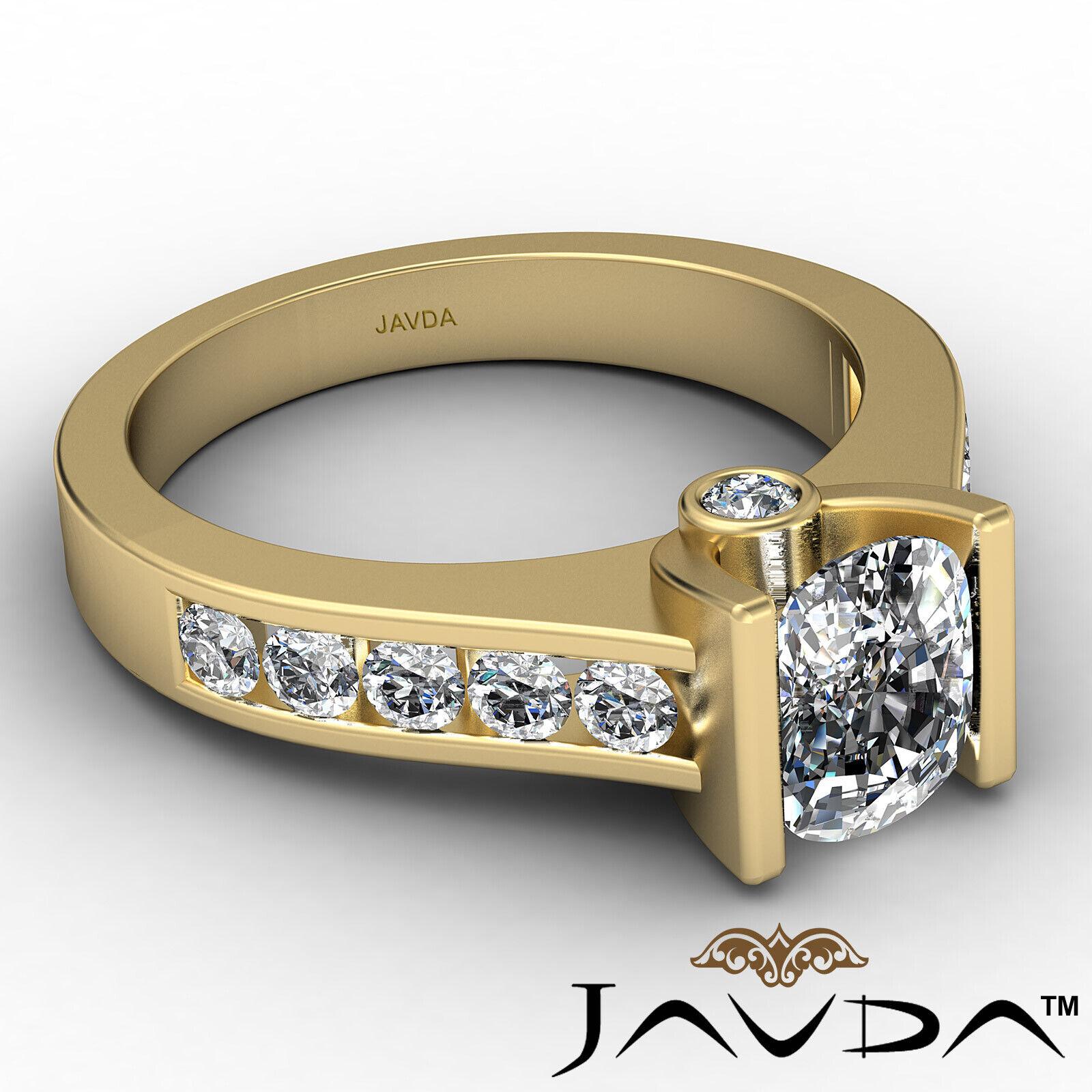 Bezel Cushion Diamond Engagement Women's Ring GIA, J Color SI1 clarity 1.53 ctw. 7