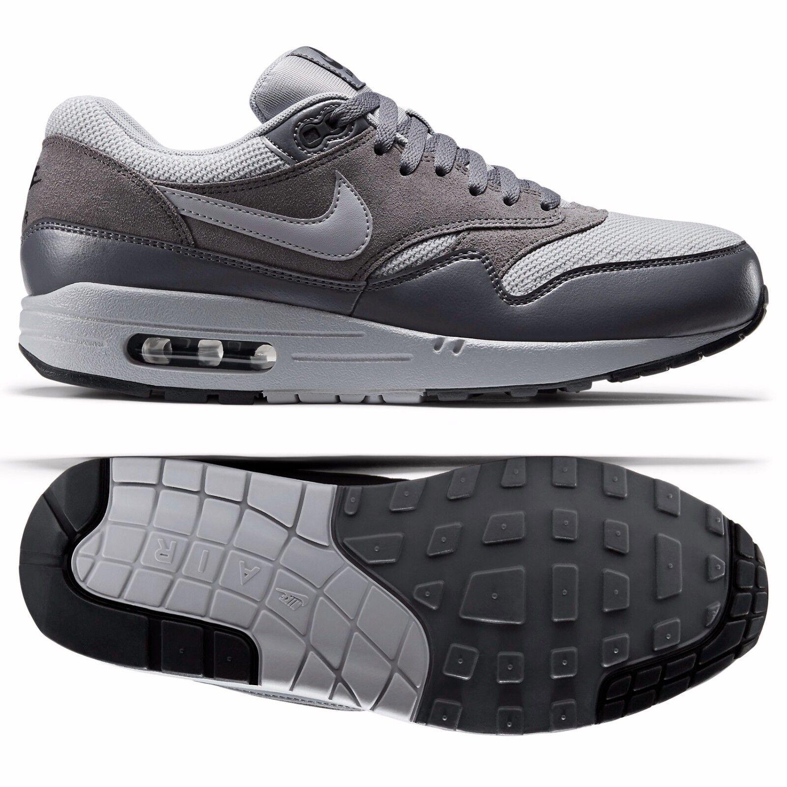 Nike Air Max 1 Essential 537383 019 Wolf GreyDark Grey Leather Men's Shoes