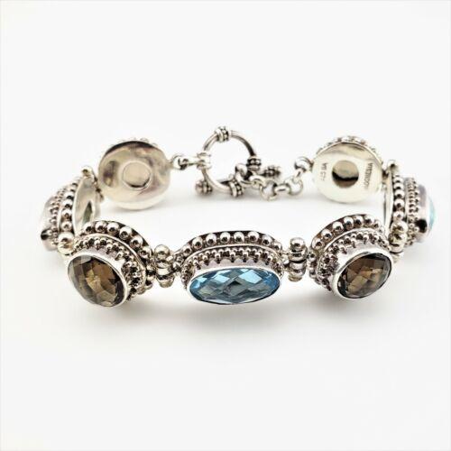 Vintage Bali Indonesia Sterling Silver Topaz Flexible Toggle Bracelet #7916