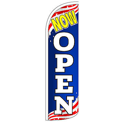 Now Open Windless Swooper Feather Flag Tall Banner Sign 3 Wide Patriotic