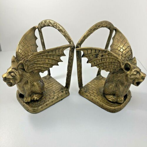 Vintage Brass Metal Winged Gargoyle Mythical Fantasy Bookends