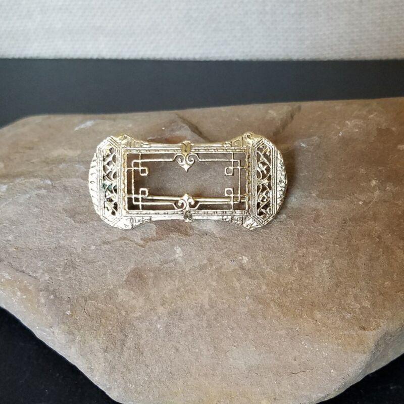 Vintage Art Deco Gold Filled Open Filigree Rectangle Brooch