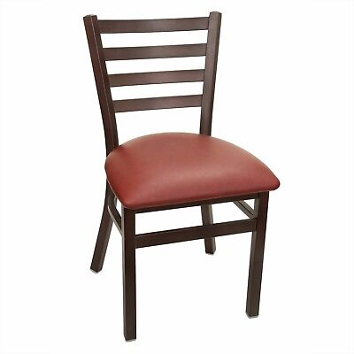 New Gladiator Rust Metal Ladder Back Restaurant Chair - Wine Vinyl Seat