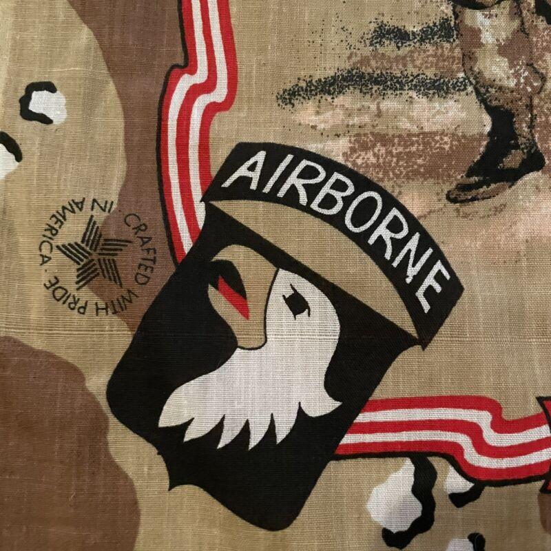 Army Airborn Desert Shield Vintage Material Fabric Bandanna